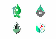 Green leaf house properties and buildings. In a set Royalty Free Stock Images