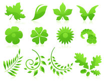 Green leaf icon collection Royalty Free Stock Photo