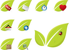 Green leaf icon set. With cart, mail, heart icon Royalty Free Stock Images