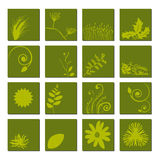 Green Leaf Icon Set. A selection of sixteen different leaf icons over a green button/icon. Fully scalable vector illustration Stock Photos