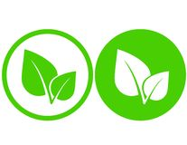 Green leaf icons. Set with green leaf icons in round frame Royalty Free Stock Photo