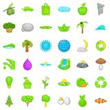 Green leaf icons set, cartoon style. Green leaf icons set. Cartoon style of 36 green leaf vector icons for web isolated on white background Stock Image