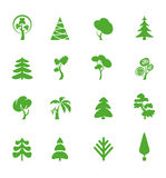 Green leaf icons set. Nature ecology image. Trees. Collection of design elements. Icons set Royalty Free Stock Photo