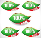 Green leaf labels of 100% natural products - vector eps10 Royalty Free Stock Photo