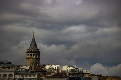Galata Tower from above shot. stock photos