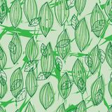 Green leaf line star watercolor seamless pattern. This illustration is drawing watercolor green leaf, line with star in seamless pattern green background vector illustration