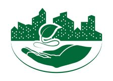 Green leaf logo. On human hand with city background. nature icon and ecology concept, vector illustration royalty free illustration
