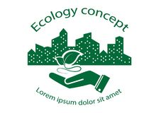 Green leaf logo. On human hand with city background. nature icon and ecology concept, vector illustration vector illustration