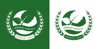 Green leaf logo. With wheat on white background. Leaves icon design elements, ecology concept,  vector illustration Royalty Free Stock Photography