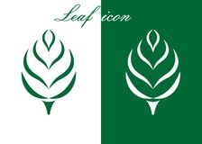 Green leaf logo. With wheat on white background. Leaves icon design elements, ecology concept,  vector illustration Royalty Free Stock Photos