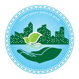 Green leaf logo. On human hand with city background. nature icon and ecology concept, vector illustration stock illustration