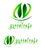 Green leaf logo. Set for natural or bio products Royalty Free Stock Photography