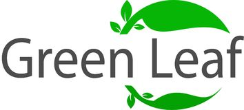 Green Leaf logo and template. This is a green solution logo, this logo tells and invites to always take the forest and do the greening and love and keep our Royalty Free Stock Photo
