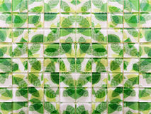Green leaf mosaic Tiles Stock Photo