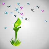 Green leaf origami Stock Image