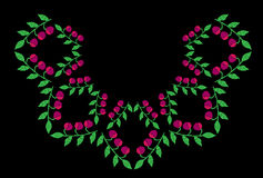 Green leaf with pink berry embroidery stitches imitation on the Royalty Free Stock Photo