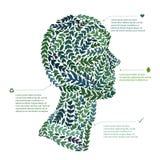 Green leaf portrait man head symbol. Vector file Royalty Free Stock Photos