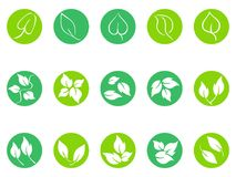 Green leaf round button icons set Royalty Free Stock Images