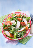 Green leaf salad with vegetables and chicken. Selective focus Royalty Free Stock Photography