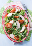 Green leaf salad with vegetables and chicken. Top view Royalty Free Stock Photos