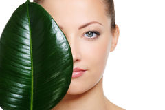 Green leaf shading a half of beautiful woman face royalty free stock photo