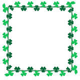Green leaf Shamrock clip art for card, background and backdrop decoration. Saint Patrick's Day Frame border. Green leaf Shamrock clip art for card, background Stock Photos