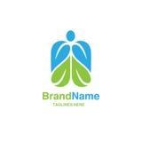 Green leaf with shape of human figure logo Stock Photo