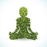 Green leaf shape, Yoga lotus position, vector illustration. Stock Photography