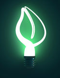 Green Leaf Shaped Lightbulb Royalty Free Stock Photos