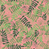 Green leaf silhouettes on pink. Vector seamless pattern. Jungle leaves background. Distressed style. Foilage ash, Robinia. For vector illustration