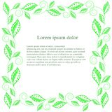 Green leaf square frame Lorem ipsum. Stock vector illustration Royalty Free Stock Photos