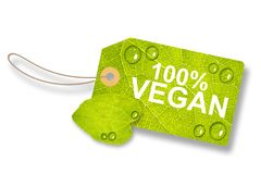 Green Leaf Tag, Label 100% Vegan - Isolated On White Background Vector Illustration