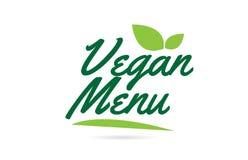 Green leaf Vegan Menu hand written word text for typography logo design. Vegan Menu hand written word text for typography design in green color with leaf Can be royalty free illustration