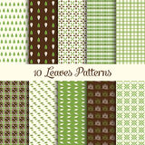 Green leafes patterns royalty free illustration