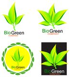 Green Leafs Bio Logo Concept Royalty Free Stock Image