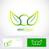 Green leafs bio logo organic badge Stock Images