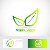 Green leafs bio logo organic Stock Photo
