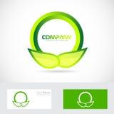 Green leafs circle logo Royalty Free Stock Photo