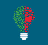 Green leafs and hearts in light bulb shape , eco concept , thinking symbol  , World Environment Day Stock Photo
