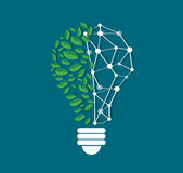 Green leafs in light bulb shape and technology line vector , nature eco concept , World Environment Day Stock Photo