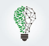 Green leafs in light bulb shape and technology line vector , nature eco concept , World Environment Day Stock Photography