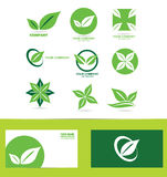 Green leafs logo icon set Royalty Free Stock Photos