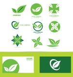 Green leafs logo icon set Royalty Free Stock Photos