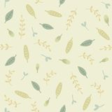 Green leafs seamless pattern. Vector EPS10 hand drawn plant seamless pattern stock illustration