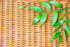Green leafs on wicker wood. As a background Stock Photos