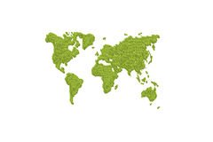 Green leafs world map Stock Photo