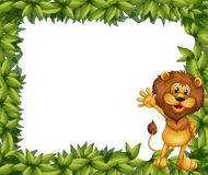 A green leafy border with a lion Royalty Free Stock Images