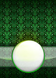 Green leafy pattern with blank ribbon circle vector Stock Images