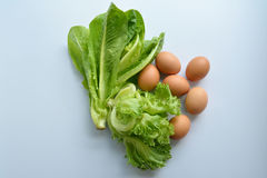Green leafy vegetables and egg Royalty Free Stock Photo