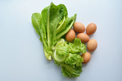 Green leafy vegetables and egg stock photography